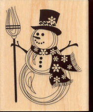 NEW INKADINKADO SNOWMAN SNOWFLAKE SCARF RUBBER MOUNTED WOOD BLOCK STAMP 60-00017