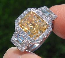 2.78 Ct  Cushion Cut Canary & Trapezoid Diamond Engagement Ring SI1 EGL 18K New