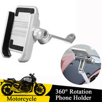 Motorcycle Bike Aluminum Mount Bracket Holder Anti-slip for 4''-6'' Cell Phones