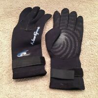 Neo Sport 3MM 5-finger Wetsuit-Gloves w/gator elastic writ-band