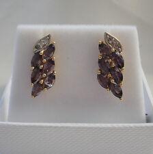 2.58ct Colour Change Sapphire & Diamond Gold Drop Earrings