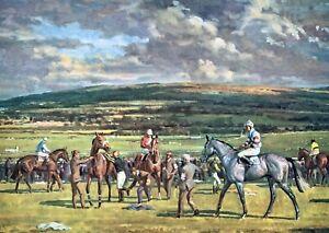 "HORSE RACING PRINT ""JOCKEYS GET MOUNTED"" 14 X 10 INCHES"