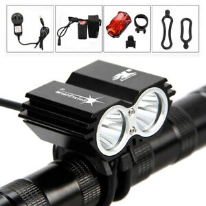 Solar Storm X3 X2 T6 LED Bicycle Front Light Bike Headlamp Rear Lamp Taillights