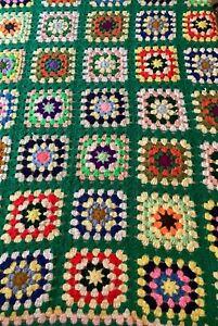 """Vtg Granny Square Multi Colored Afghan Crochet Throw Blanket Handmade 64"""" X 50"""""""