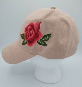 David And Young Women's Suede Ball Chill Cap Hat Embroidered Pink Flower Floral
