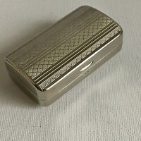 Small Vintage Engine Turned Box Art Deco Style Silver Metal Chrome 2.5in x 1.5in