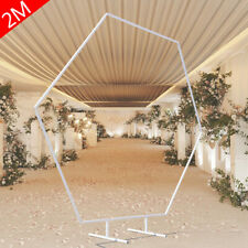 White Hexagon Arch Wedding Backdrop Stand Wrought Iron Framework Flower Rack 2m