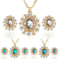GI- Women Bride Wedding Crystal Snowflower Pendant Necklace Earrings Jewelry Set