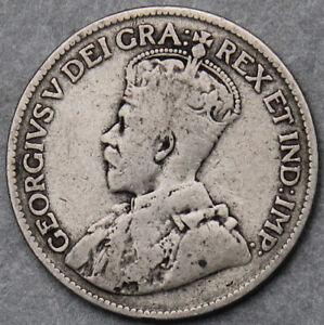 Canada Newfoundland George V 1917 Twenty Five Cents #110220