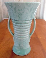 Art Deco Brush USA Pottery McCoy Ringware Handled Vase 579 10 Aqua white glaze