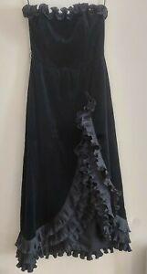 Velvet dress black by Bernshaw Vintage Evening Gown uk 10/12