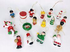 17 Vintage Wood Christmas Ornaments 1950 Handmade & Painted Tree decoration
