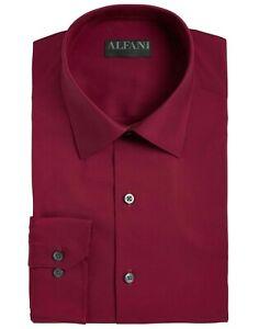 Alfani Mens Dress Shirt Burgundy Red XL 17-17 1/12 Regular Fit Stretch $60 157