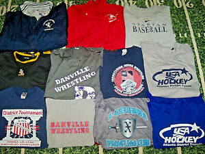 HUGE LOT of TWELVE Wrestling Baseball Hockey Jerseys T-Shirts Jackets For Jock