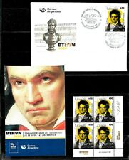 ARGENTINA 2020 MUSIC BEETHOVEN 250°ANIV COMBO OFFICIAL POST BROCHURE+BLOCx4+FDC