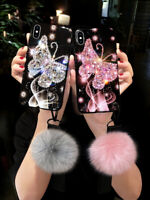 Luxury Girl Bling Diamond Butterfly Plush Case for iPhone 12 Pro XS MAX XR 11 8
