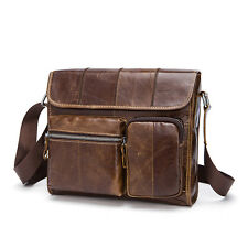 Mens Real Leather Shoulder Bag Crossbody Satchel Messenger Pocket Campus Bookbag