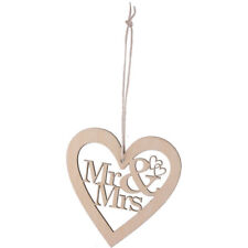 5 x Wooden Heart Shaped Mr And Mrs With String Embellishment DIY Craft wedding