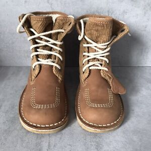 Kickers Boots Size 3 Beige Leather Kick Hi Lace Up Ankle Boots Fleece Lined cord