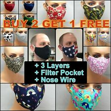 USA Reusable Cotton Face Mask washable 3 layer 3D with Nose Wire filter Pocket