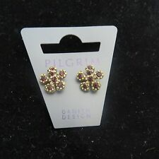 Pilgrim Jewelry Brass Tone Flower & Crystal Earrings w/ Butterfly Back: 394303 A