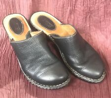 BORN BLACK LEATHER SLIP ON WEDGE HEEL CLOGS SIZE 8