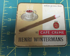 Henri Wintermans Cafe Creme tin - held 10 cigarettes made in Holland - slim tin