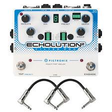 Pigtronix Echolution 2 Filter Pro Multi-Tap Delay Guitar FX Pedal Patch Cables