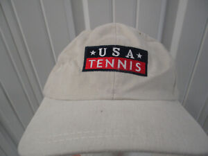 VINTAGE USTA UNITED STATES TENNIS ASSOCIATION GET IN SEWN STRAPBACK HAT CAP NWT