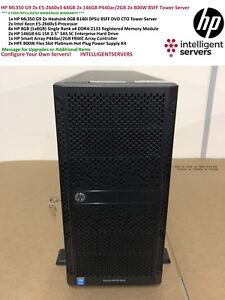 HP ML350 Gen9 2x E5-2660v3 64GB 2x 146GB P440ar/2GB 2x 800W 8SFF Tower Server