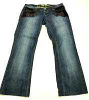 Bebina Womens Size 33 Embellished Hemmed Boot Cut Blue Jeans Great Condition
