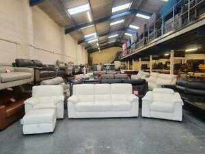 Designer white leather 3 seater sofa, standard chair, electric chair and puffee