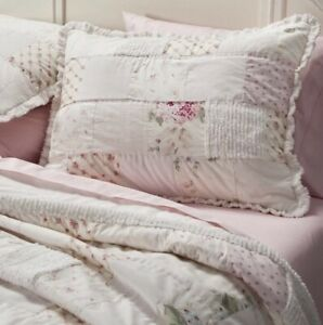 Rachel Ashwell Simply Shabby Chic Pink Rose Chenille Patchwork Twin Quilt Set
