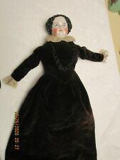 Antique German China Head Doll Black Hair 21 Blue Eyes Rosy Cheeks White Face