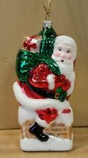 Vintage Chistmas Ornament Santa on Chimney with Bag of Toys