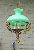 Stunning french Teal opaline glass metal birds figural Lamp chandelier rare 1960