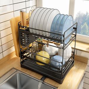 2-Tier Stainless Steel Kitchen Shelf Dish Drying Rack Storage Tableware Stand