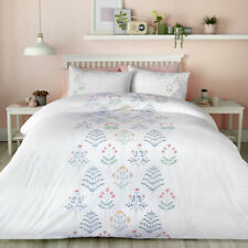 Serene Flora Embroidered Easy Care Duvet Cover Set