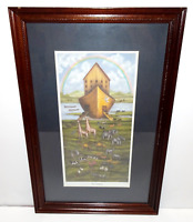 VINTAGE BETH CUMMINGS LIMITED EDITION SIGNED NOAH'S ARK BIBLE CHRISTIANITY PRINT