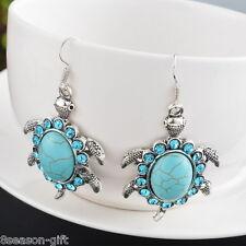 HX New Fashion Turtle Turquoise Rhinestone Ear Pendants Earring For Women