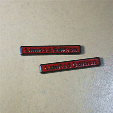 2PCS Red Matte Black Limited Edition Emblem Metal Decal Badge Sticker Sports Car