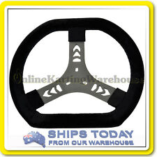 GO KART STEERING WHEEL 320 MM SUEDE LEATHER NEW FLAT TOP LIGHT WEIGHT