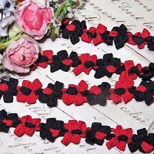 "1y 1/2"" French Red Blk Rococo Rosette Ribbon Vtg Doll Dress Trim Jacquard Antiq"