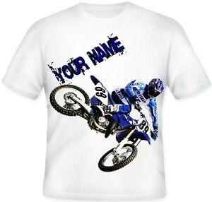 Kids BOYS Personalised Motocross MX Off road Bike T Shirt Great Gift