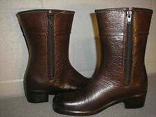 "Fits 5 Sz6 Vtg Mod 1960s 1970s 10"" Tall Brown Lined Rubber Rain 60s Boot Shoe"