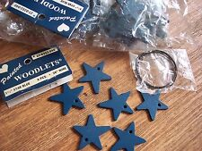 "Lot Of 72 Blue 1 1/2"" Wooden Stars Plus Wire 12 Pkgs Of 6 Ea Painted Woodlets"