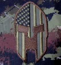 AMERICAN FLAG SPARTAN PUNISHER HELMET MILITARY MORALE BADGE FOREST VELCRO PATCH