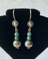 #665 Earrings,Vintage Navajo Bench Beads 1980s Sterling Silver 925, SunRay Stamp