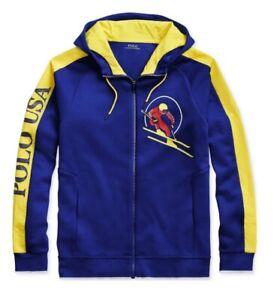 Polo Ralph Lauren L Downhill Ski Royal Blue / Yellow Lightweight Hoodie CP93