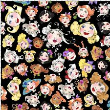 Buttonheads Button Heads Lady Faces on Black Cotton Fabric Loralie By The Yard